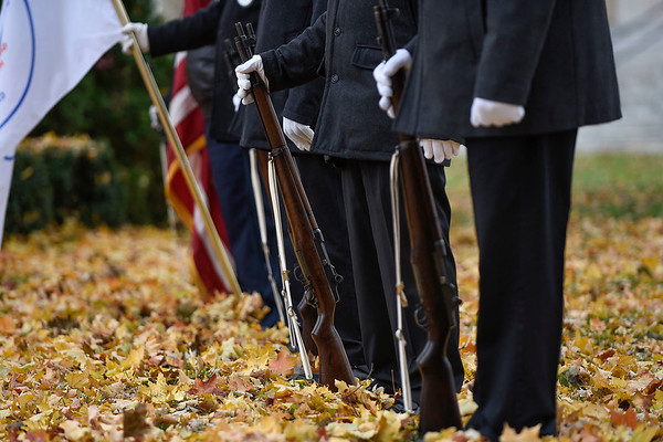 BEN MIKESELL | THE GOSHEN NEWS<br /> Veterans in the Goshen honor guard wait for Monday's Veterans Day ceremony to begin on the Elkhart County Courthouse lawn.