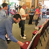 JOHN KLINE | THE GOSHEN NEWS<br /> Community members write suggestions for what they would like to see included in the Goshen Parks and Recreation Department's upcoming 5-Year Master Plan update during a public meeting at the Rieth Interpretive Center Tuesday evening.
