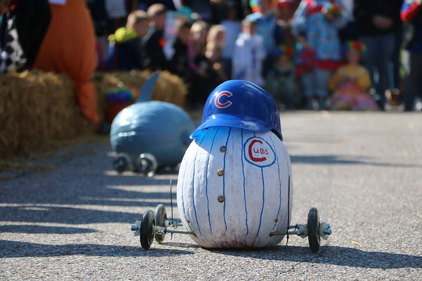 AIMEE AMBROSE | THE GOSHEN NEWS A Chicago Cubs pumpkin by Drew Pontius of Middlebury rolls to victory as the champion pumpkin during the second annual Pumpkin Race in Middlebury on Saturday.