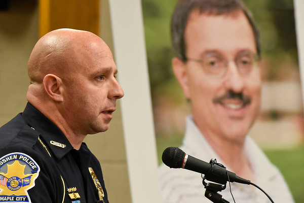 BEN MIKESELL | THE GOSHEN NEWS<br /> Goshen Police Chief Jose Miller speaks during Tuesday's press conference in the council chambers at the Goshen Police Department regarding the 2011 murder of Goshen College professor James Miller.