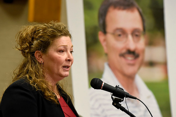 BEN MIKESELL | THE GOSHEN NEWS<br /> Elkhart County Prosecutor Vicki Becker speaks during Tuesday's press conference in the council chambers at the Goshen Police Department regarding the 2011 murder of Goshen College professor James Miller.