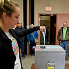 BEN MIKESELL | THE GOSHEN NEWS<br /> Goshen resident Kelsey Norris casts her ballot while early voting Friday afternoon at the Elkhart County Administration Building in Goshen.
