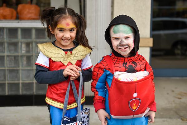 BEN MIKESELL | THE GOSHEN NEWS<br /> Mira Gilliom, 5, dressed as Wonder Woman, and Braxton Mast, 3, dressed as Spider-Man, both from Goshen.