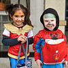 BEN MIKESELL | THE GOSHEN NEWS<br /> Mira Gilliom, 5, dressed as Wonder Woman, and Braxton Mast, 3, dressed as Spider-Man, both from Goshen.