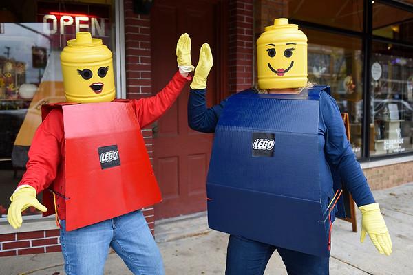 BEN MIKESELL | THE GOSHEN NEWS<br /> Diane Bailey, left, and Lisa VanderWey, both of Goshen, dressed as Lego figures.