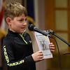 BEN MIKESELL | THE GOSHEN NEWS<br /> Bo Blackford, first-grader at Wakarusa Elementary School, reads a saying for Grandparent's Day Tuesday afternoon in Wakarusa.