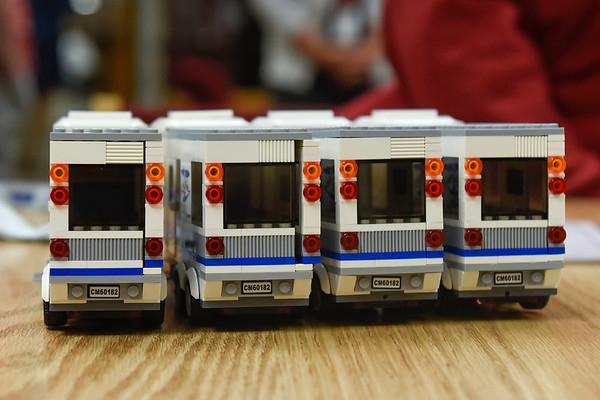 BEN MIKESELL | THE GOSHEN NEWS<br /> Eighth-grade students at Goshen Middle School worked together to create model RVs out of LEGO Tuesday morning in the school's media center.