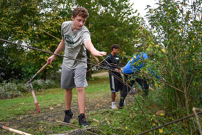 BEN MIKESELL | THE GOSHEN NEWS Concord High School freshman Conner Merrill throws twigs onto a pile during Concord's community service day Wednesday at the Heartland Wildlife Rehabilitation Center in Goshen. Freshmen students at Concord spent the morning at various locations around Goshen, Elkhart and Middlebury.