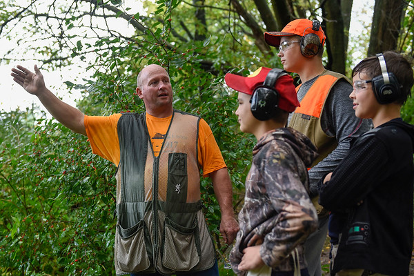 BEN MIKESELL | THE GOSHEN NEWS<br /> Instructor Harold Schmucker gives instructions at one of the five skeet shooting stations Saturday morning at the Nappanee Conservation Club.