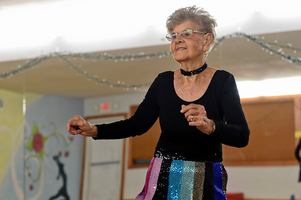 BEN MIKESELL | THE GOSHEN NEWS Rosalie Taber, 91, Osceola practices a routine Tuesday at the Music and Dance Academy in Dunlap. Taber has been dancing with the Rockerettes for nearly thirty years.