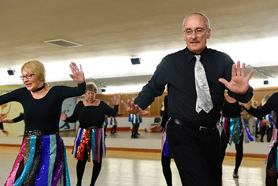 BEN MIKESELL | THE GOSHEN NEWS Dave Tibbets of Elkhart practices a routine Tuesday morning at the Music and Dance Academy in Dunlap. Tibbets is the only man in the 20-person senior tap-dancing group, the Rockerettes.