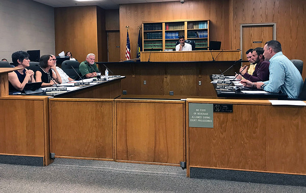 JOHN KLINE | THE GOSHEN NEWS Members of the Goshen City Council discuss a proposed comprehensive smoking/vaping ordinance for the city during their meeting Tuesday evening.