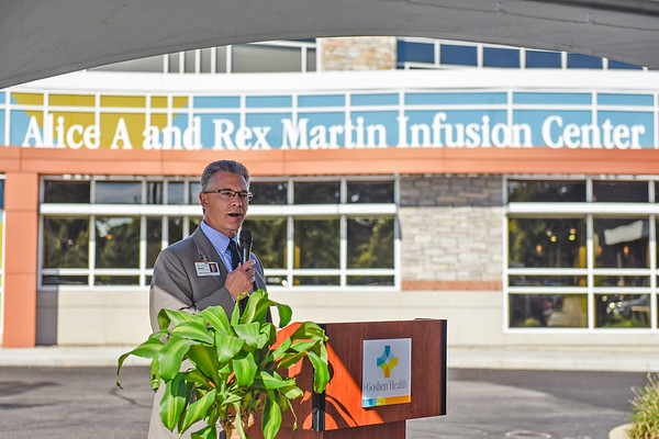 BEN MIKESELL   THE GOSHEN NEWS<br /> Goshen Health President and CEO Randy Christophel speaks during the ribbon cutting ceremony for the Alice A. and Rex Martin Infusion Center Monday morning at Goshen Hospital.