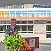 BEN MIKESELL | THE GOSHEN NEWS<br /> Goshen Health President and CEO Randy Christophel speaks during the ribbon cutting ceremony for the Alice A. and Rex Martin Infusion Center Monday morning at Goshen Hospital.