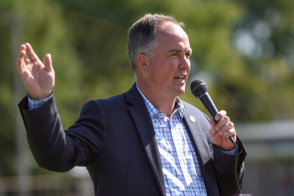 BEN MIKESELL | THE GOSHEN NEWS<br /> Nappanee mayor Phil Jenkins speaks at the groundbreaking ceremony Friday for the new Boys and Girls Club building which will be built behind Nappanee Elementary School.