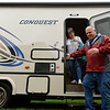 BEN MIKESELL | THE GOSHEN NEWS<br /> Bob and Sherry Tobbe, from Louisville, step out of an RV made by Nappanee-based Gulf Stream during the first day of the RV Open House Monday at the RV/MH Hall of Fame in Elkhart.
