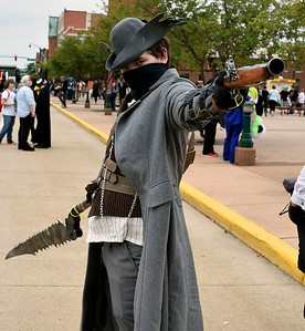 Christina Clark | The Goshen News Quinton Jones, South Bend, showcases his hard work on his hunter cosplay costume from Bloodborne, a video game.