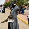 Christina Clark | The Goshen News<br /> Quinton Jones, South Bend, showcases his hard work on his hunter cosplay costume from Bloodborne, a video game.