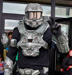 Christina Clark | The Goshen News Mike Johnson, Elkhart,  appears as Master Chief from Halo during the comic con event in Elkhart Saturday.