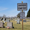 BEN MIKESELL | THE GOSHEN NEWS<br /> A sign at Oakridge Cemetery announces the annual spring clean up, during the first week of April. If there is anything worth keeping on memorials, people are expected to clean it up before the week begins.