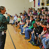 BEN MIKESELL | THE GOSHEN NEWS<br /> Concord South Side Elementary principal Jennifer Loupee, left, speaks to third-, fourth- and fifth-graders during a rally Thursday afternoon before they start ILEARN testing next week.