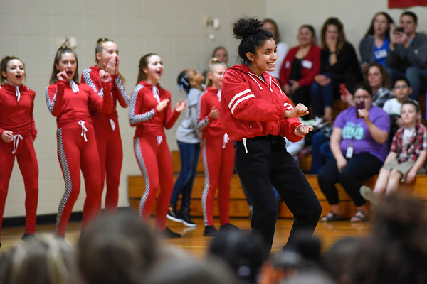 BEN MIKESELL | THE GOSHEN NEWS<br /> Brianna Mendoza, a sophomore at Concord High School, freestyles with her group from Epic Dance Studio during a pep rally Thursday afternoon at Concord South Side Elementary School.