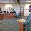 Roger Schneider | The Goshen News<br /> Goshen Mayor Jeremy Stutsman explains to the Goshen school board Monday why an environmental education curriculum is being created.