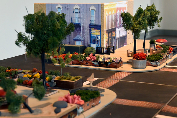 BEN MIKESELL | THE GOSHEN NEWS<br /> A model built by entrepreneur Dave Pottinger shows the potential changes at the intersection of Washington and Main Streets in downtown Goshen.