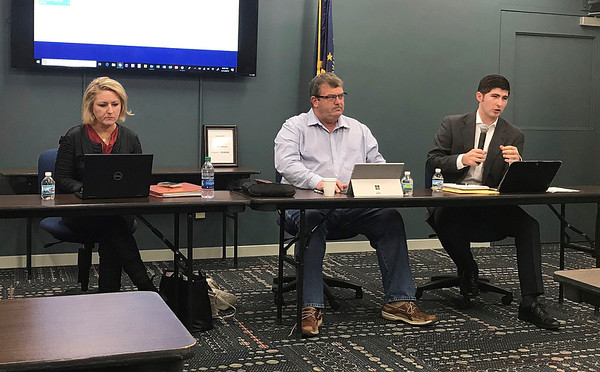 JOHN KLINE | THE GOSHEN NEWS<br /> From left, State Rep. Christy Stutzman, R-District 49, Sen. Blake Doriot, R-District 22, and State Rep. Tim Wesco, R-District 21, chat with attendees of the final 2019 Third House town hall meeting at the Goshen Chamber of Commerce Friday morning.
