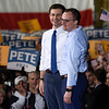 BEN MIKESELL | THE GOSHEN NEWS<br /> South Bend mayor Pete Buttigieg stands with his husband Chasten after announcing he is running in the 2020 presidential election Sunday afternoon at the Studebaker Building 84 in South Bend.