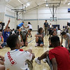 CAMDEN CHAFFEE | THE GOSHEN NEWS<br /> Elementary schoolers gather in the middle school gymnasium to participate in back-to-school activities during the all school social Tuesday at Bethany Christian Schools on the first day back.