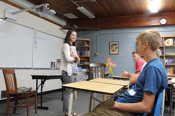 CAMDEN CHAFFEE | THE GOSHEN NEWS<br /> Nina Longenecker Fox stands in front of her Spanish II class during the first day of school at Bethany Christian Schools Tuesday.