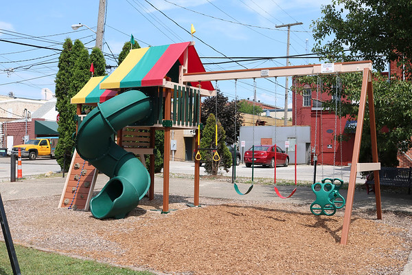 SHEILA SELMAN | THE GOSHEN NEWS<br /> This playground equipment at LifeSpring Church in downtown Goshen is Wyatt Hart's Eagle Scout project. The build was finished in mid-November. Wyatt said it took less than 15 minutes for children to start playing on it.