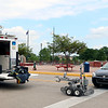 AIMEE AMBROSE | THE GOSHEN NEWS <br /> The Elkhart Police Department's bomb squad robot is parked near the squad's truck during an investigation into a suspicious bag found at Civic Plaza in downtown Elkhart Friday. The bag was found to be non-threatening. Main Street in front of the plaza was closed during the investigation.