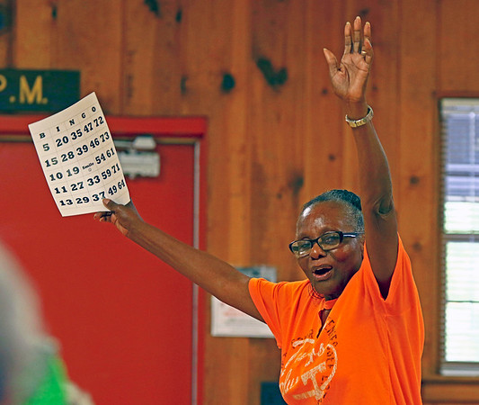 GEOFF LESAR | THE GOSHEN NEWS<br /> <br /> Katherine Johnson, of Elkhart, celebrates a cover-all bingo win during the Council On Aging of Elkhart County's client picnic Wednesday afternoon inside Elkhart's McNaughton Park Pavilion, part of National Senior Citizens Day. The organization, of which Johnson is a volunteer, hosts client meetings from 9 a.m.-1 p.m. Wednesday and Thursday at First Presbyterian Church, 200 E. Beardsley Ave., Elkhart. For clients 55 and older, meetings start with coffee and chair exercises, leading to Bible study or other activities, computer lessons, an 11 a.m. guest speaker, an 11:30 a.m. lunch, noon games, constests and more, encouraging fellowship and growth among attendees.