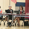 JOHN KLINE   THE GOSHEN NEWS<br /> Goshen Community Schools Superintendent Diane Woodworth, second from left, provides a brief update on the school corporation's expected enrollment numbers for the 2019/20 school year during a meeting of the Goshen school board Monday evening.