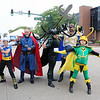 ROGER SCHNEIDER | The Goshen News<br /> A common site on Main Street in Elkhart during the 2018 Comic Con were people dressed as their favorite character from movies, comic books, video games and other media. Posing from left are Frank Billingsley, 12, as Thor, Dennis Wise as Dr. Strange, Tricia Billingsley as Hela, Godess of Death, Sherman Billingsley as Odin and Sam Billingsley, 10, as Loki. Wise is from Elkhart and the Billingsleys are from LaGrange.