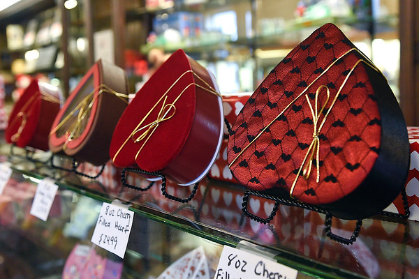 BEN MIKESELL | THE GOSHEN NEWS<br /> Assorted heart boxes are on display Thursday morning at Olympia Candy Kitchen in Goshen.