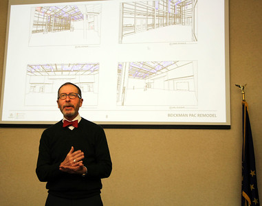 AIMEE AMBROSE | THE GOSHEN NEWS  Tom Neff, a principal with Schmidt Associates of Indianapolis, presents design plans for renovating the Beickman Performing Arts Center at Concord High School during the Concord Community Schools Board meeting Tuesday.