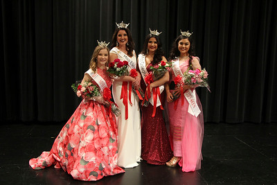 SHEILA SELMAN | THE GOSHEN NEWS Winners at the Miss Elkhart County Scholarship Program Sunday nigth pose for a photo. From left are Miss Elkhart County Outstanding Teen Katelyn Joseph, Miss Elkhart County Darby Bell, Miss Collegiate North Victoria Ruble and Miss Collegiate North Outstanding Teen KK Kokonaing.