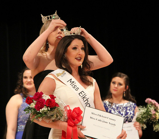 SHEILA SELMAN | THE GOSHEN NEWS<br /> Darby Bell is crowned Miss Elkhart County Sunday night at Goshen Middle School.
