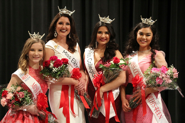 SHEILA SELMAN | THE GOSHEN NEWS<br /> Winners at the Miss Elkhart County Scholarship Program Sunday nigth pose for a photo. From left are Miss Elkhart County Outstanding Teen Katelyn Joseph, Miss Elkhart County Darby Bell, Miss Collegiate North Victoria Ruble and Miss Collegiate North Outstanding Teen KK Kokonaing.