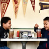 BEN MIKESELL | THE GOSHEN NEWS<br /> Parkside Elementary first-graders Carter Houston, left, and Erick Pizana Hernandez, enjoy their glasses of phosphate soda they stirred themselves Thursday morning at the South Side Soda Shop in Goshen. Parkside students take a field trip across the street each year to learn about basic economics, such as supply and demand as well as goods and services.