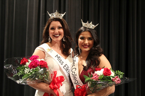 SHEILA SELMAN | THE GOSHEN NEWS Miss Elkhart County Darby Bell, left, and Miss Collegiate North Victoria Ruble pose for a photo after winning their respective titles Sunday night at Goshen Middle School.