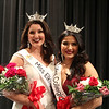SHEILA SELMAN | THE GOSHEN NEWS<br /> Miss Elkhart County Darby Bell, left, and Miss Collegiate North Victoria Ruble pose for a photo after winning their respective titles Sunday night at Goshen Middle School.