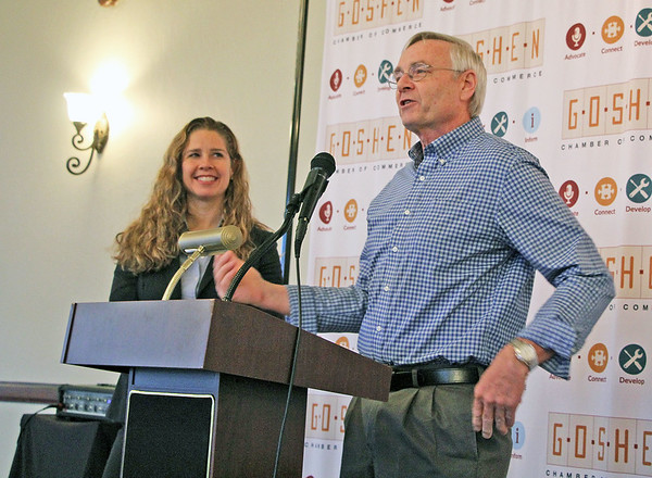 Elkhart County Commissioners Mike Yoder and Suzanne Weirick provide updates on key projects in the county during the Wake Up, Goshen event at Spohn Ballroom along East Clinton Street Thursday.