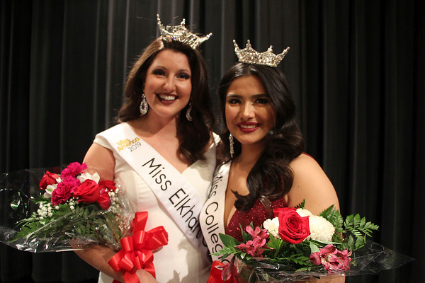 SHEILA SELMAN | THE GOSHEN NEWS<br /> Miss Elkhart County Darby Bell, left, and Miss Collegiate North Victoria Ruble pose for a photo after being crowned Sunday night at Goshen Middle School during the Miss Elkhart County Scholarship Program.