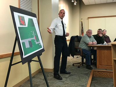JOHN KLINE | THE GOSHEN NEWS Steffen Schrock, battalion chief with the Goshen Fire Department, provides an update on the department's proposed new $375,000 training facility during a special joint meeting of the Goshen City Council and Goshen school board Tuesday evening.