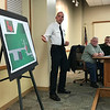 JOHN KLINE | THE GOSHEN NEWS<br /> Steffen Schrock, battalion chief with the Goshen Fire Department, provides an update on the department's proposed new $375,000 training facility during a special joint meeting of the Goshen City Council and Goshen school board Tuesday evening.