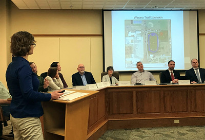 JOHN KLINE | THE GOSHEN NEWS Leslie Biek, civil traffic engineer for the city, provides a update on some of the more impactful road and trail projects set for work in 2019 during a special joint meeting of the Goshen City Council and Goshen school board Tuesday evening.